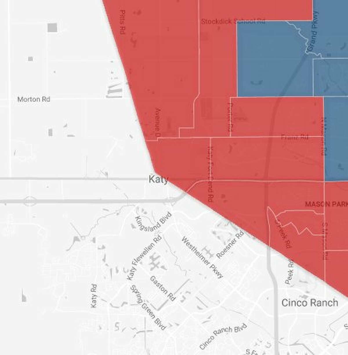 The map shows the Harris County part of the Katy area, which went red (Republican) in the 2016 presidential election in the neighborhoods close to the city of Katy and blue (Democratic) in the neighborhoods farther away from the city.