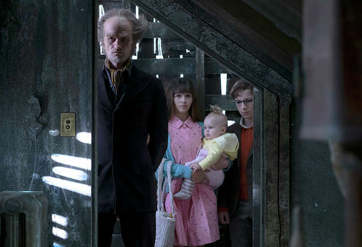 Neil Patrick Harris, Malina Weissman and Louis Hynes, A Series of Unfortunate Events | Photo Credits: Joe Lederer / Netflix