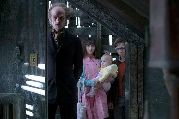 Neil Patrick Harris, Malina Weissman and Louis Hynes, A Series of Unfortunate Events | Photo Credits: Joe Lederer / Netflix