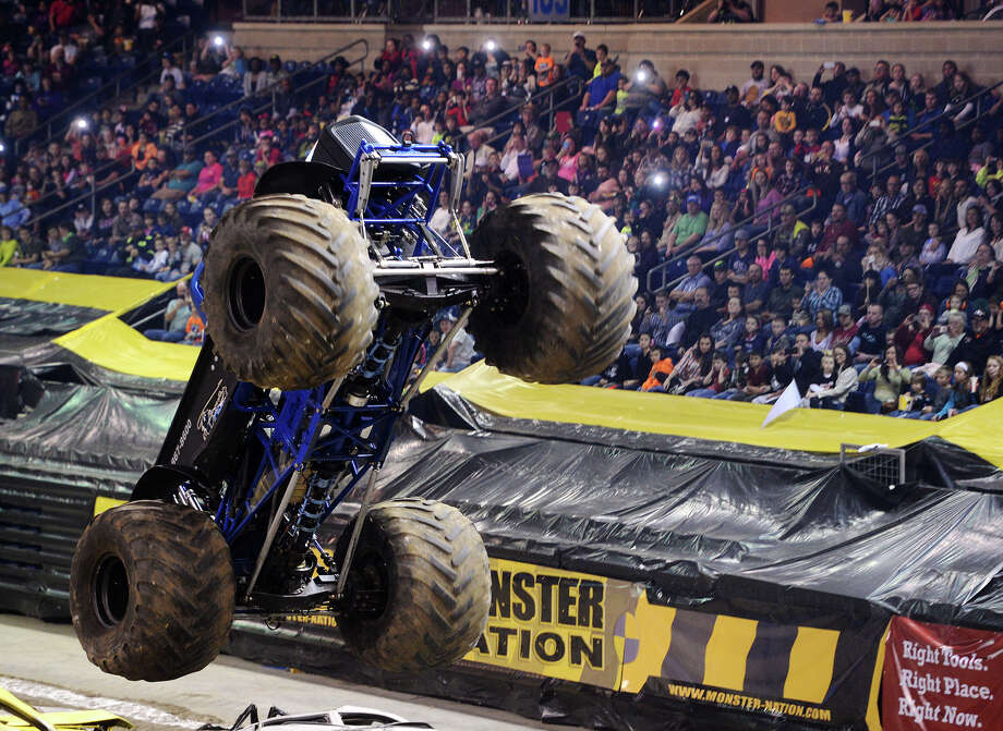 "Midnight Rider gains some air during Friday night's Monster Nation event. Monster Nation returns to Ford Arena this weekend to celebrate the 40th anniversary of the legendary Bigfoot, which is listed in the Guinness Book of World Records as the ""World's Tallest, Widest, and Heaviest Monster Truck.""