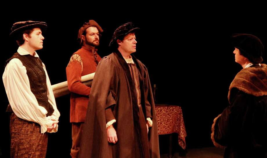 """From left to right are Rafe Sadler (Will Sanders), Cristophe (Laurent Prat), Thomas Cromwell (Joel Grothe) and Thomas More (Joel Sandel) in Main Street Theater's """"Wolf Hall, Part II: Bring Up the Bodies."""" Photo: Pin Lim / Copyright Forest Photography, 2016."""