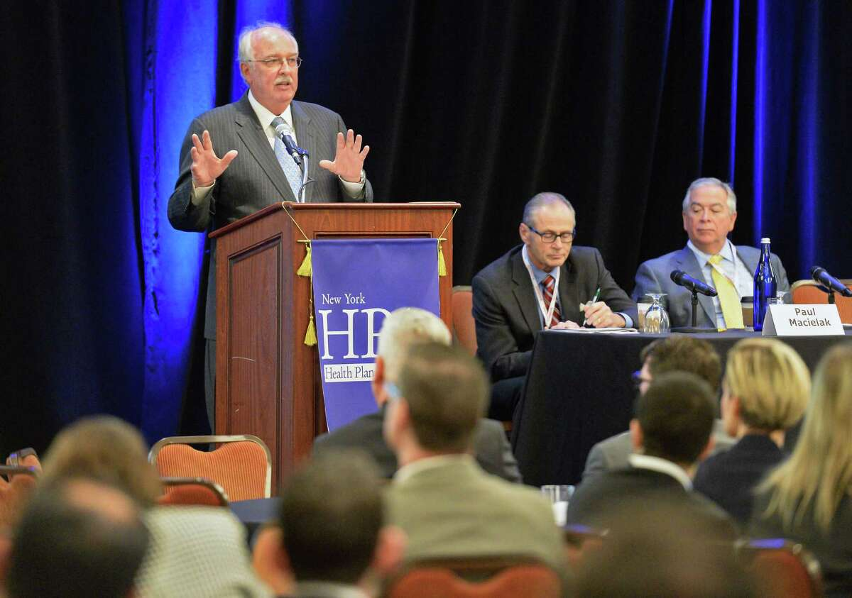 Futurist Ian Morrison, at podium, speaks on the future of Healthcare Marketplaces during NY Health Plan Association's annual conference Thursday Nov. 17, 2016 in Troy, NY. (John Carl D'Annibale / Times Union)