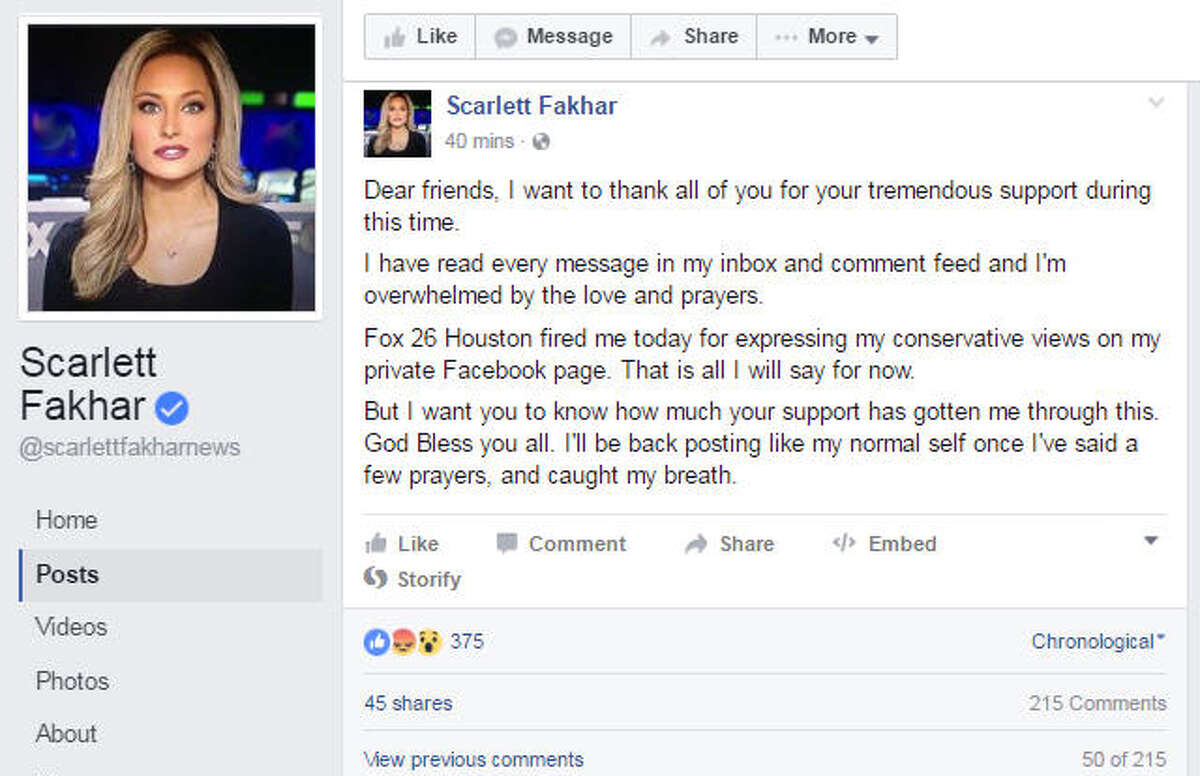 Former Fox 26 -KRIV reporter Scarlett Fakhar posted on her Facebook page that she was fired from Fox 26 in Houston. (Source: Facebook)