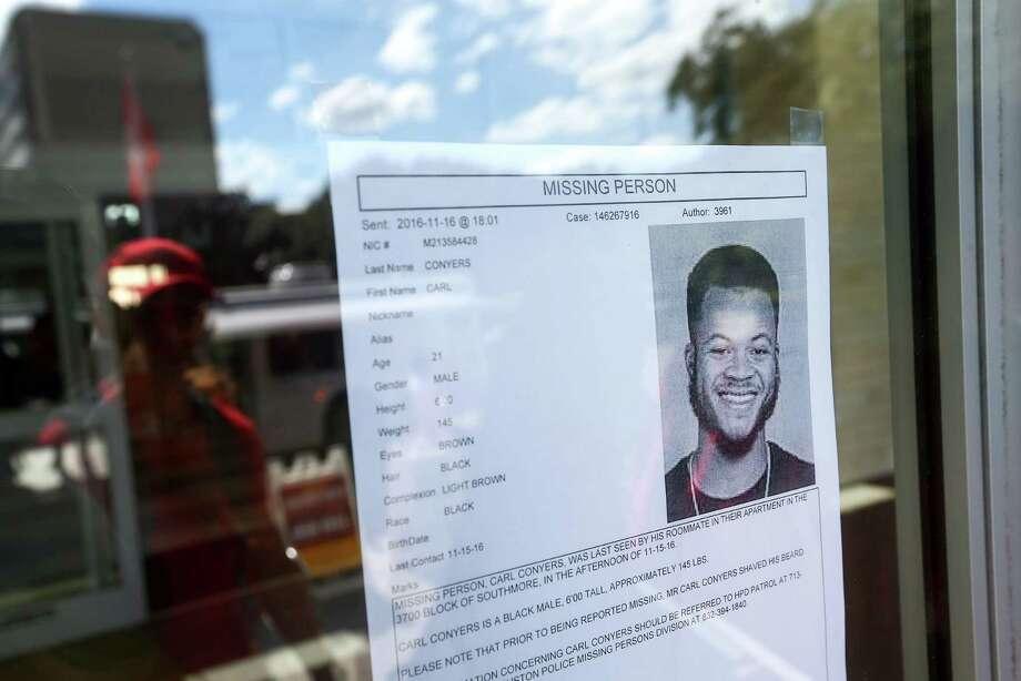 A missing-person flier at the University of Houstonon Thursday shows Carl Conyers, son of Congressman John Conyers. Photo: Jon Shapley, Houston Chronicle / © 2015  Houston Chronicle