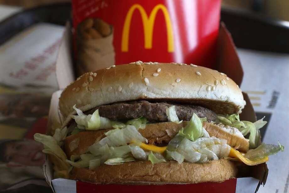 In this Tuesday, Jan. 21, 2014, photo, a McDonald's Big Mac sandwich is photographed at a McDonald's restaurant in Robinson Township, Pa. (AP Photo/Gene J. Puskar) Photo: Gene J. Puskar, Associated Press