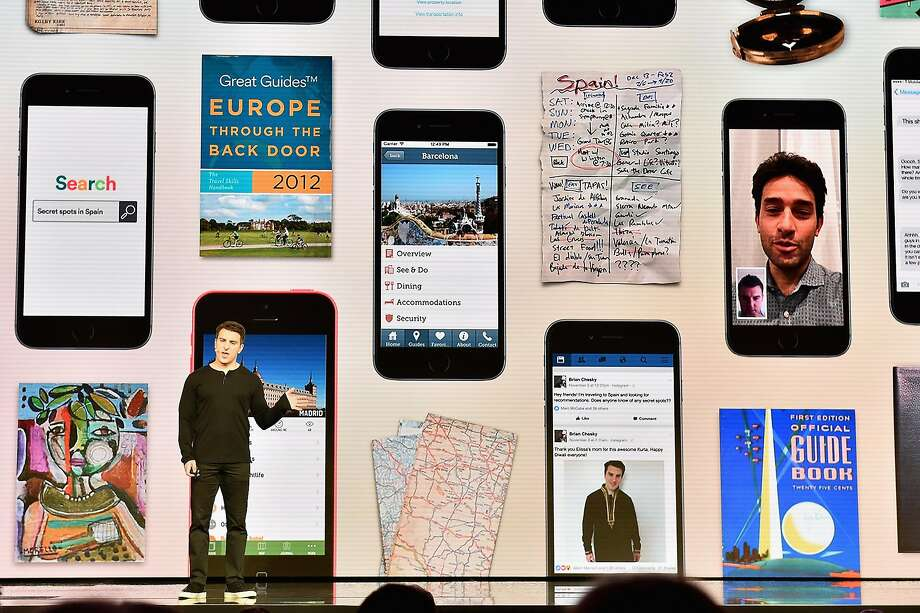 """Airbnb CEO Brian Chesky speaks about Trips during the company's event in Los Angeles. """"We need to create a holistic travel experience, for the whole trip,"""" he said. Photo: Mike Windle, Getty Images For Airbnb"""