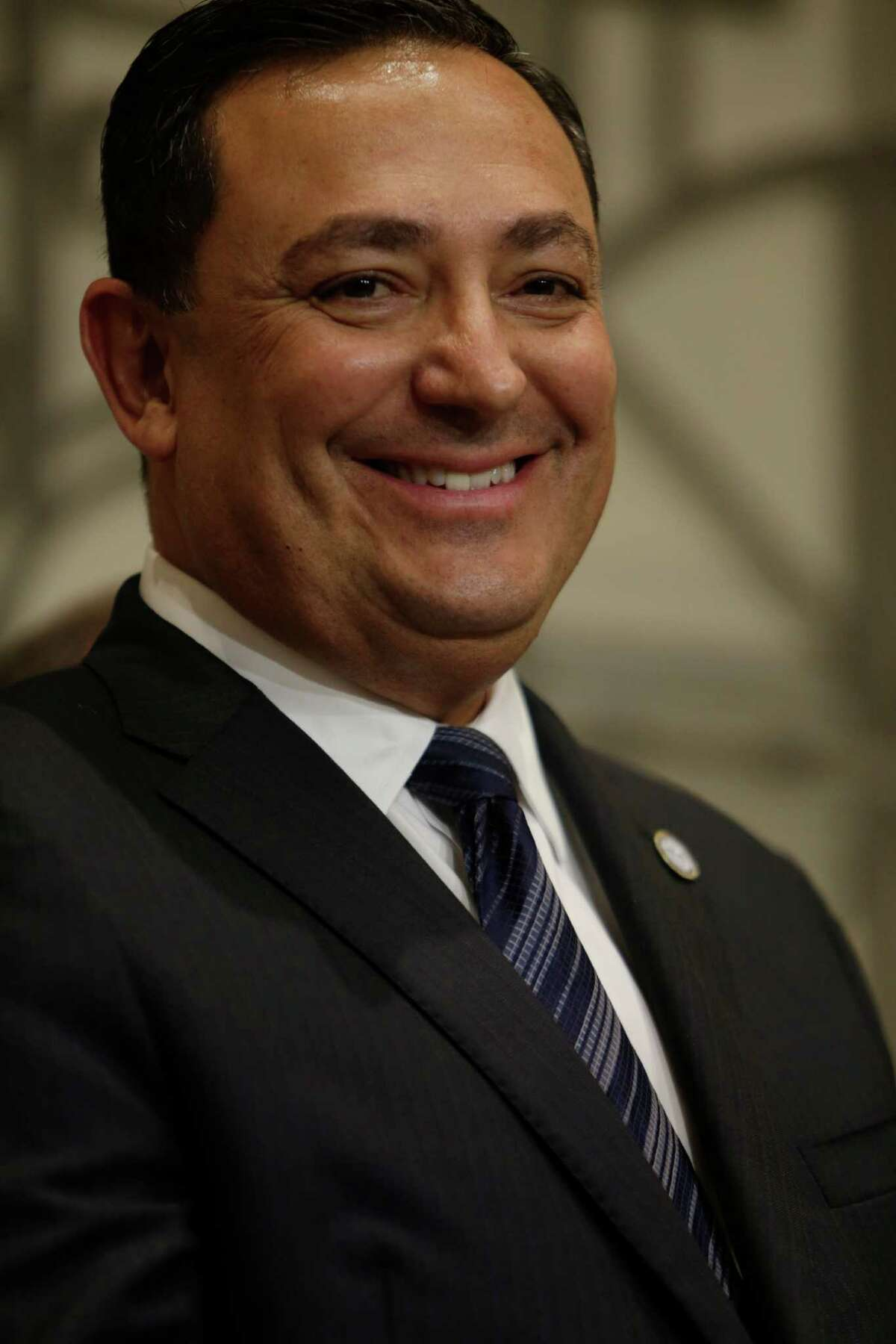Art Acevedo is introduced as Houston's new police chief during a press conference at City Hall on Thursday.