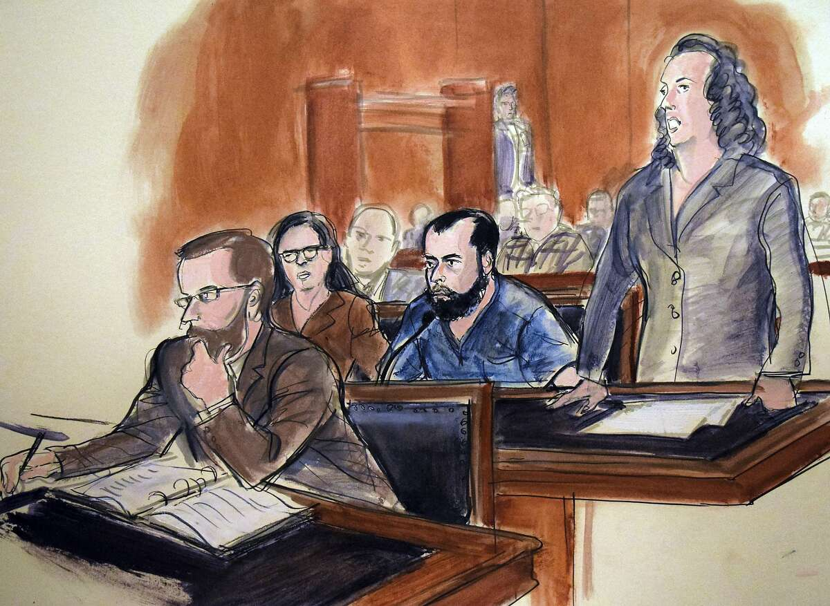 In this artist's drawing, Ahmad Rahimi, center, listens to proceedings, Thursday, Nov. 17, 2016, as Federal Defender Peggy Cross- Goldenberg, standing, addresses the court during Rahimi's arraignment in New York. Rahimi was arraigned on charges that in September 2016, he set off bombs in New Jersey and New York that injured 30 people. From left-foreground are Assistant US Attorney Nicholas Lewin; Federal Defender Sabrina Shroff; Ahmad Rahimi and Federal Defender Peggy Cross- Goldenberg. (AP Photo/Elizabeth Williams)