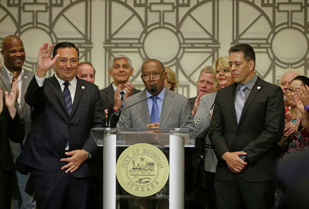 Current Austin Police Chief Art Acevedo (left) is named as the new police chief of the Houston Police Department by mayor Sylvester Turner during a press conference at City Hall Thursday afternoon, Nov. 17, 2016 in Houston. Mayor Turner also named Samuel Pena (right) the new chief of the Houston Fire Department.