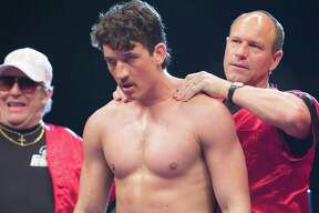 "Aaron Eckhart, Ciaran Hinds and Miles Teller in ""Bleed for This."" (Open Road Films)"