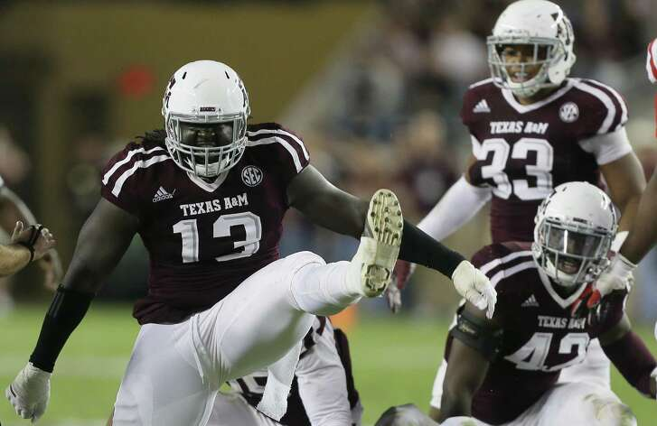 Reggie Chevis of the Texas A&M Aggies celebrates a defensive stop in the third quarter against the Mississippi Rebels at Kyle Field on Nov. 12, 2016 in College Station.