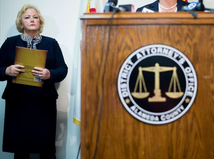 Alameda County District Attorney Nancy O�Malley attends a news conference where she announced hat her office plans to charge seven current or former police officers for crimes related to a sexually exploited teenager who goes by Celeste Guap on Friday, Sept. 9, 2016, in Oakland, Calif.