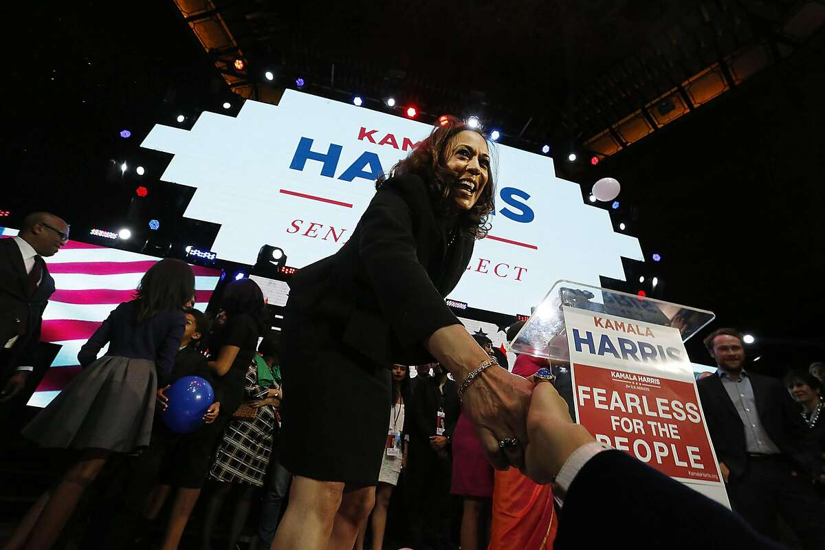 Kamala Harris celebrates her victory in the U.S. Senate race at a rally in downtown Los Angeles on Tuesday, Nov. 8, 2016. (Barbara Davidson/Los Angeles Times/TNS)
