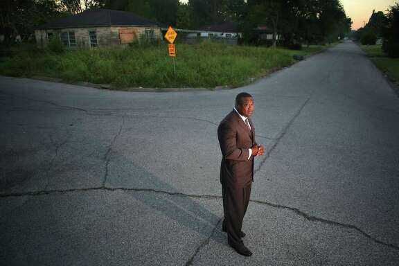 Quanell X, leader of the New Black Panther Party,       during a visit to the South Acres street where he grew up, Tuesday, Oct. 25, 2016, in Houston. Quanell spent time dealing drugs in the area, especially at the intersection three doors down from his grandmother's house.