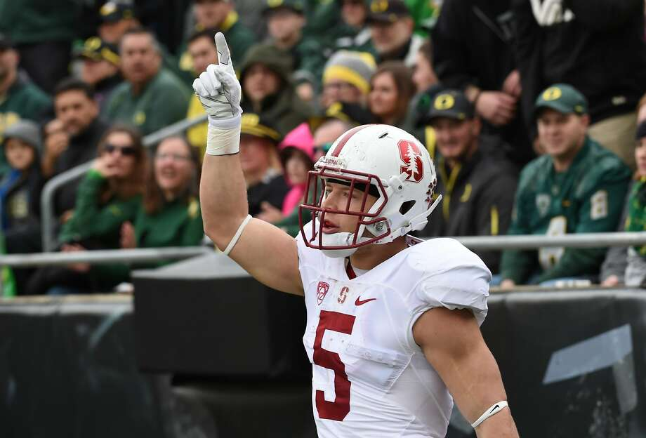 Christian McCaffrey hasn't decided if this is his last Big Game. Photo: Steve Dykes, Getty Images
