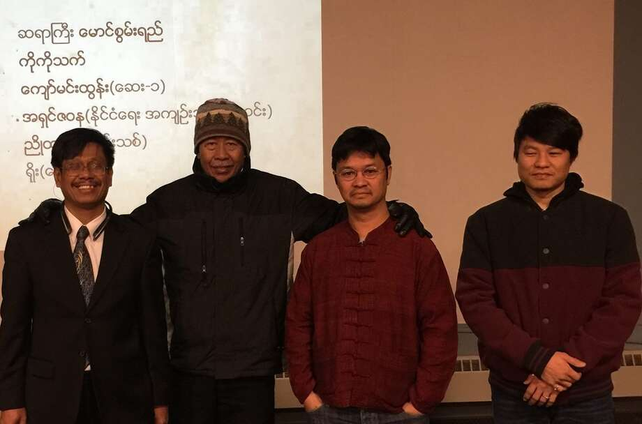 Albany's Burmese community presented a poetry reading at Albany Public Library on Nov. 12, headlined by Burmese poet and critic Maung Swan Yi, who has been living in Queens since he finished an International Writing Program at the University of Iowa in 2003. Other poets who read were ko ko thett, who has just completed his IWP residency at University of Iowa and is on a reading tour in the U.S., medical doctor and poet Kyaw Min Tun (IM1), the resident poet of Albany Yoe (Khittaya) and Moe Kyal, a former political prisoner.  From left, poet Moe Kyal,organizer Thar Kyi Kyaw Nyein, poet Ko Ko Thett and organizer Nai Mon Thaw. Maung Swan Yi started off with a piece that longs for his mother and the rural area in Upper Burma where he grew up. Ko ko thett read a poem he wrote in Burmese after his return to Burma in January 2015. Kyaw Min Tun (IM1) read a poem that celebrates the political career of Aung San Suu Kyi. Yoe (Khittaya), who was a member of All Burma Students Democratic Front, read a poem that remembers sacrifice of his comrades in the Burmese jungle. On his turn Moe Kyal  read a poem called '1000' that remembers the life of his friend's father who has passed away in Yangon recently. The event ended with sing-along and karaoke. (Submitted photo)  ORG XMIT: nxnNUbk5jHbtYuWx11aZ