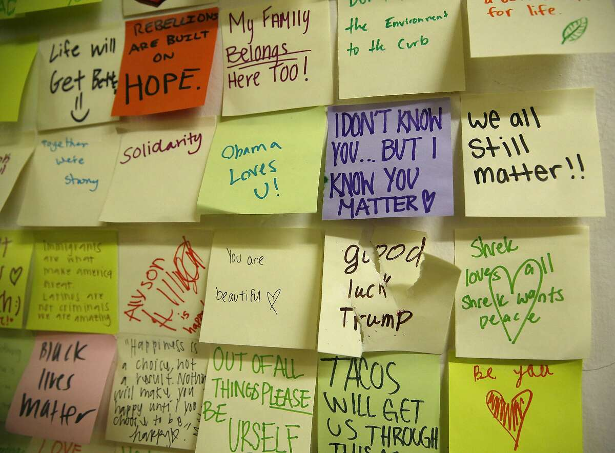 Student stickies on a wall seen outside of Valerie Ziegler's history class at Lincoln High School on Thursday, November 17, 2016, in San Francisco, Calif.