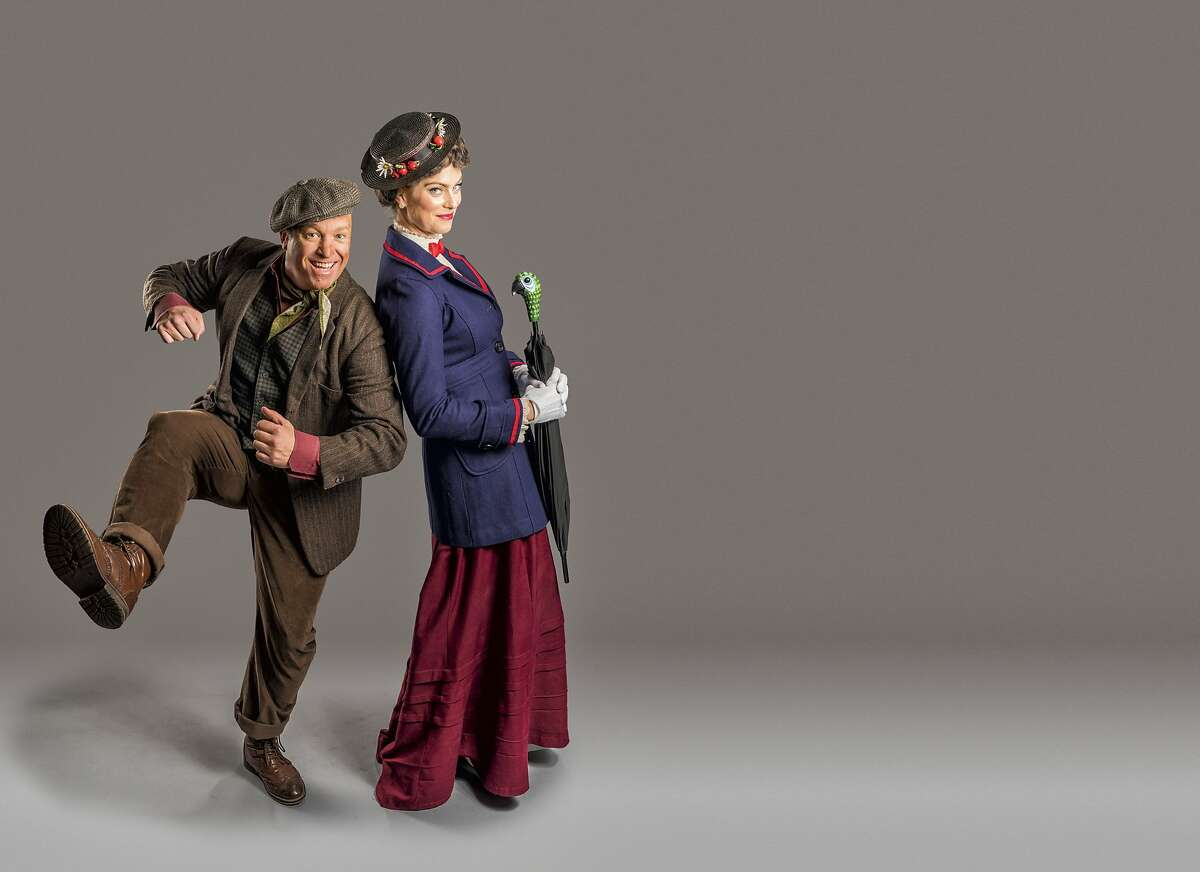 """Jim Ambler as Burt and Caitlin McGinty as Mary Poppins in Hillbarn Theatre's """"Mary Poppins."""""""