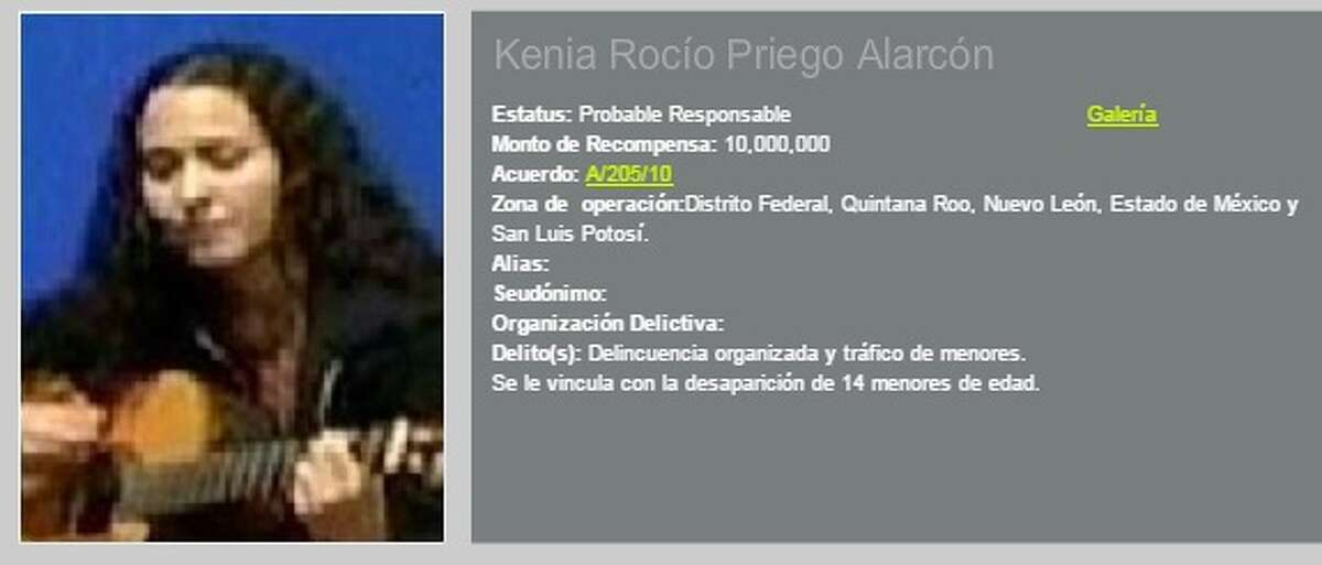 Kenia Rocio Priego Alarcon is accused of organized crime and the trafficking of minors.