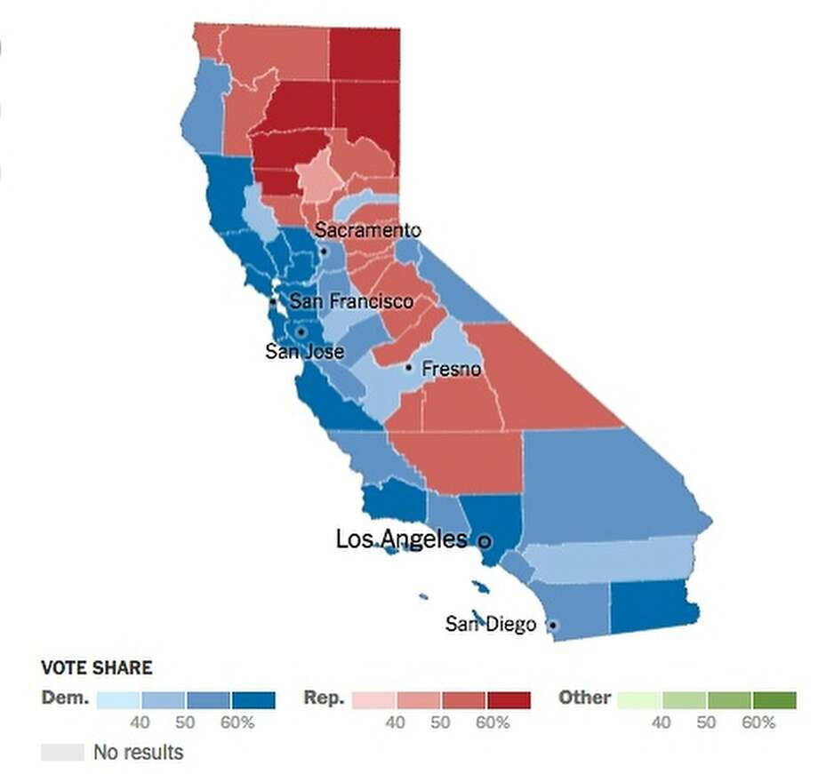 This map shows how California counties voted in the 2016 presidential election. Click on the slideshow for 12 takeaways from the California vote. Photo: California Secretary Of State