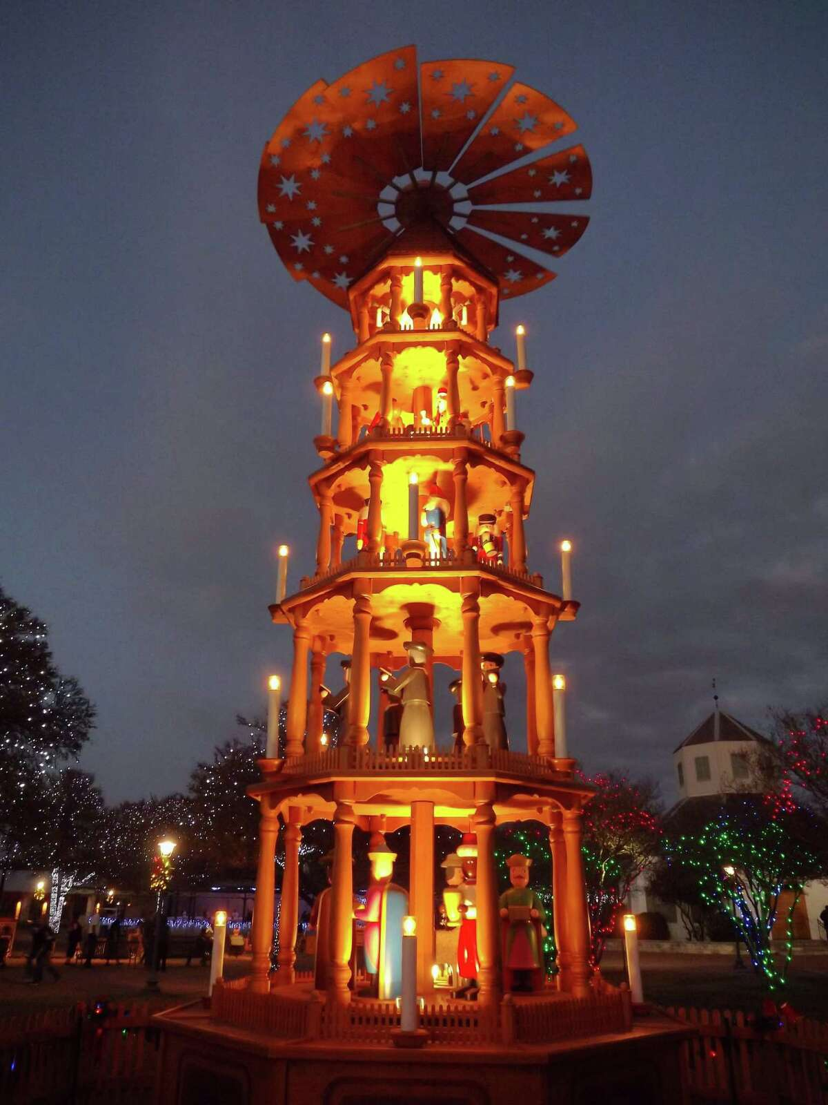 Among Fredericksburg, Texas' holiday traditions is the lighting of a 26-foot-tall German Christmas Pyramid in the Marktplatz.