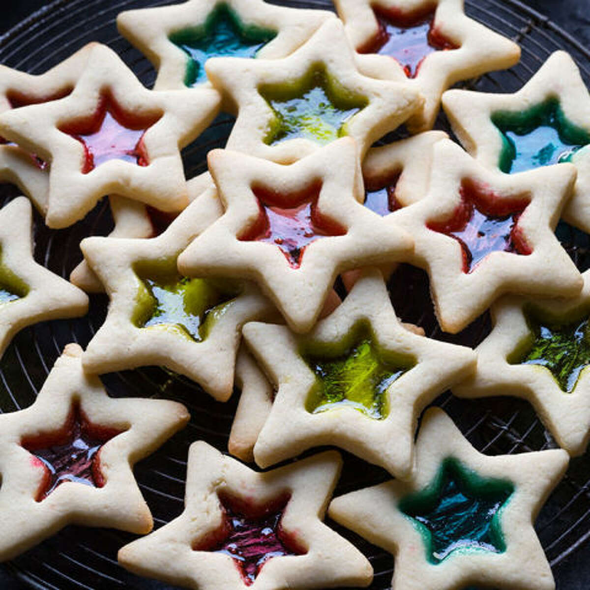GLUTEN-FREE STAINED GLASS COOKIES These beauties will definitely get you noticed at the office cookie swap. They're almost too pretty to eat - almost. Get the recipe at Noshtastic. RELATED: 14 Cookies You Can Literally Make In a Bowl - No Baking Required