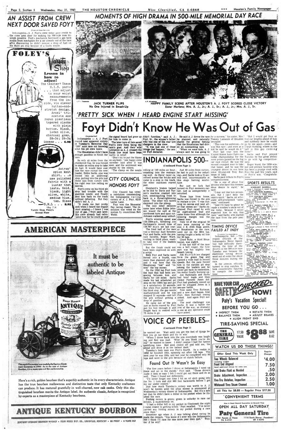 Houston Chronicle inside page (HISTORIC) Â?- May 31, 1961 - section 5, page 2. (A.J. Foyt) INDIANAPOLIS 500. Foyt Didn't Know He Was Out of Gas