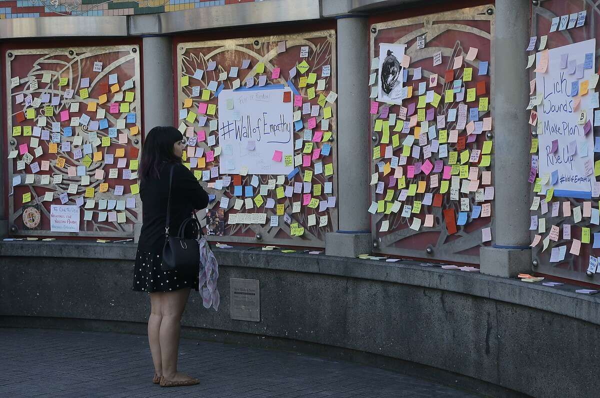 A woman looks at sticky notes placed on