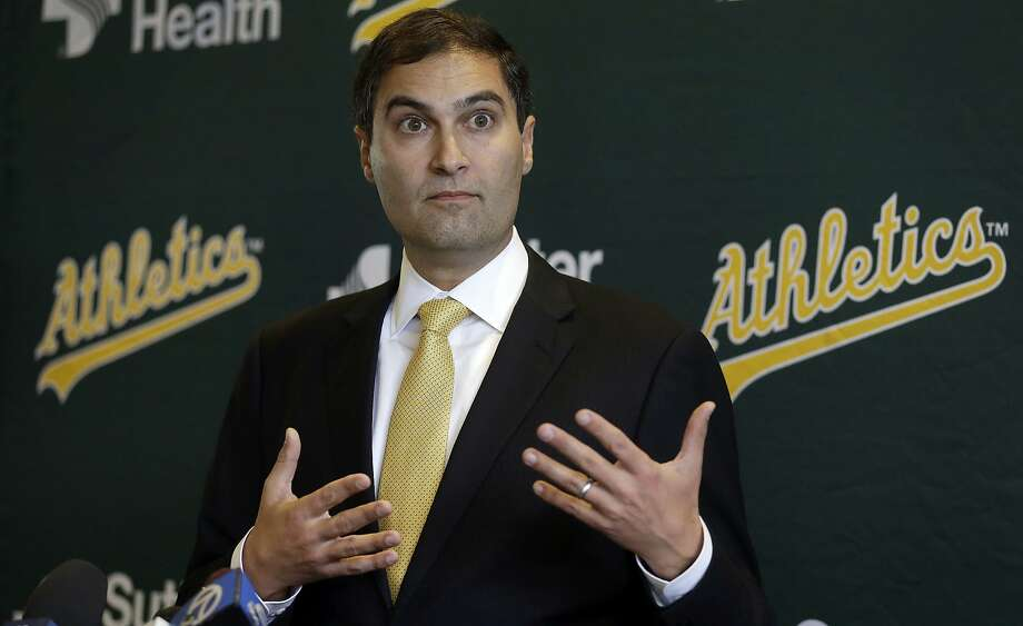 New Oakland Athletics President David Kaval gestures during a media conference on Thursday, Nov. 17, 2016, in Oakland, Calif. (AP Photo/Ben Margot) Photo: Ben Margot, Associated Press