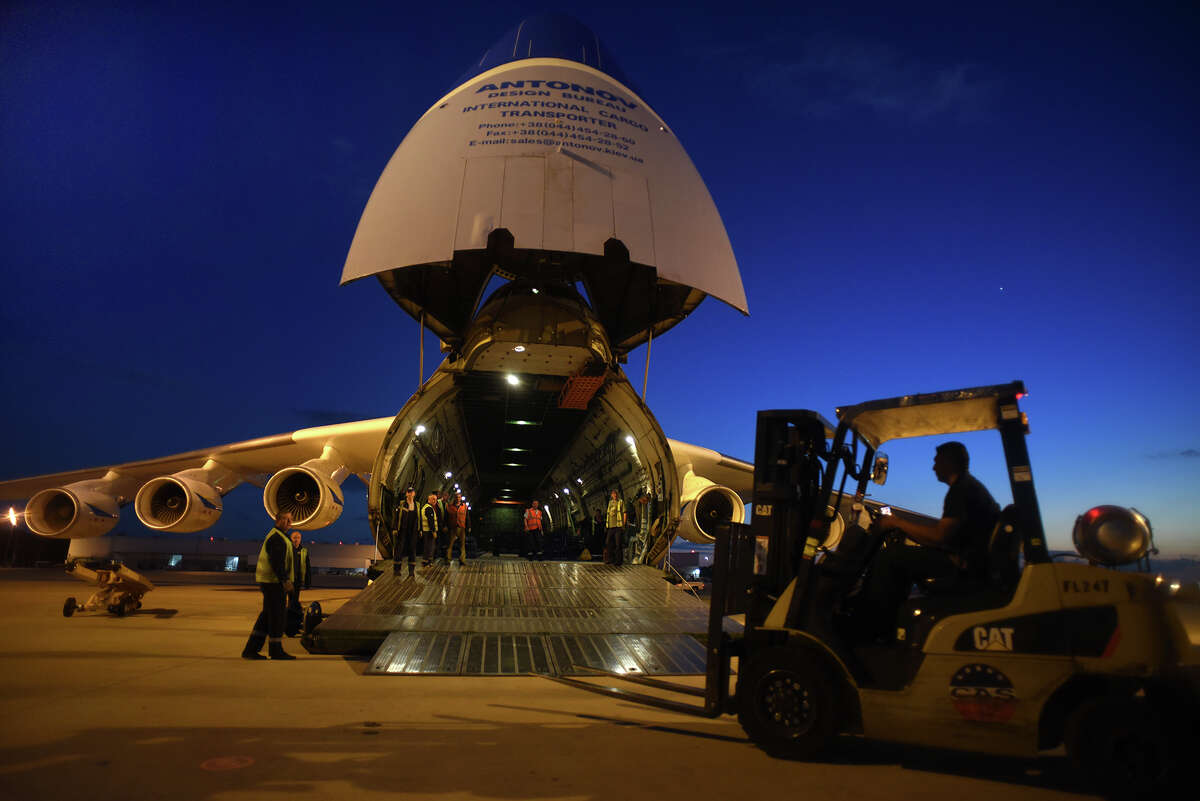 Cargo is unloaded from the Antonov An-225 at IAH on Thursday.