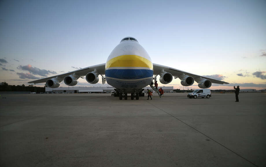 The Antonov An-225, the world's largest plane, sits on the tarmac at Bush Intercontinental Airport on Thursday. Photo: Jerry Baker, Freelance / Freelance