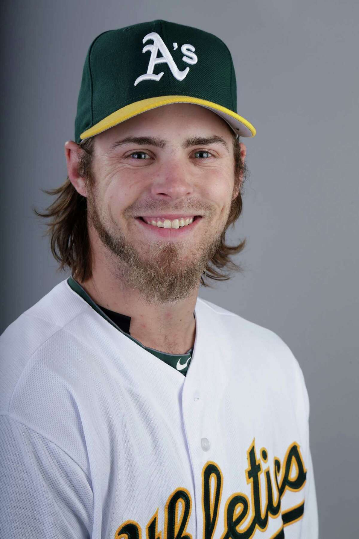 This is a 2014 photo of Josh Reddick of the Oakland Athletics baseball team. This image reflects the Athletics active roster as of Saturday, Feb. 22, 2014, when this image was taken. (AP Photo/ Gregory Bull)