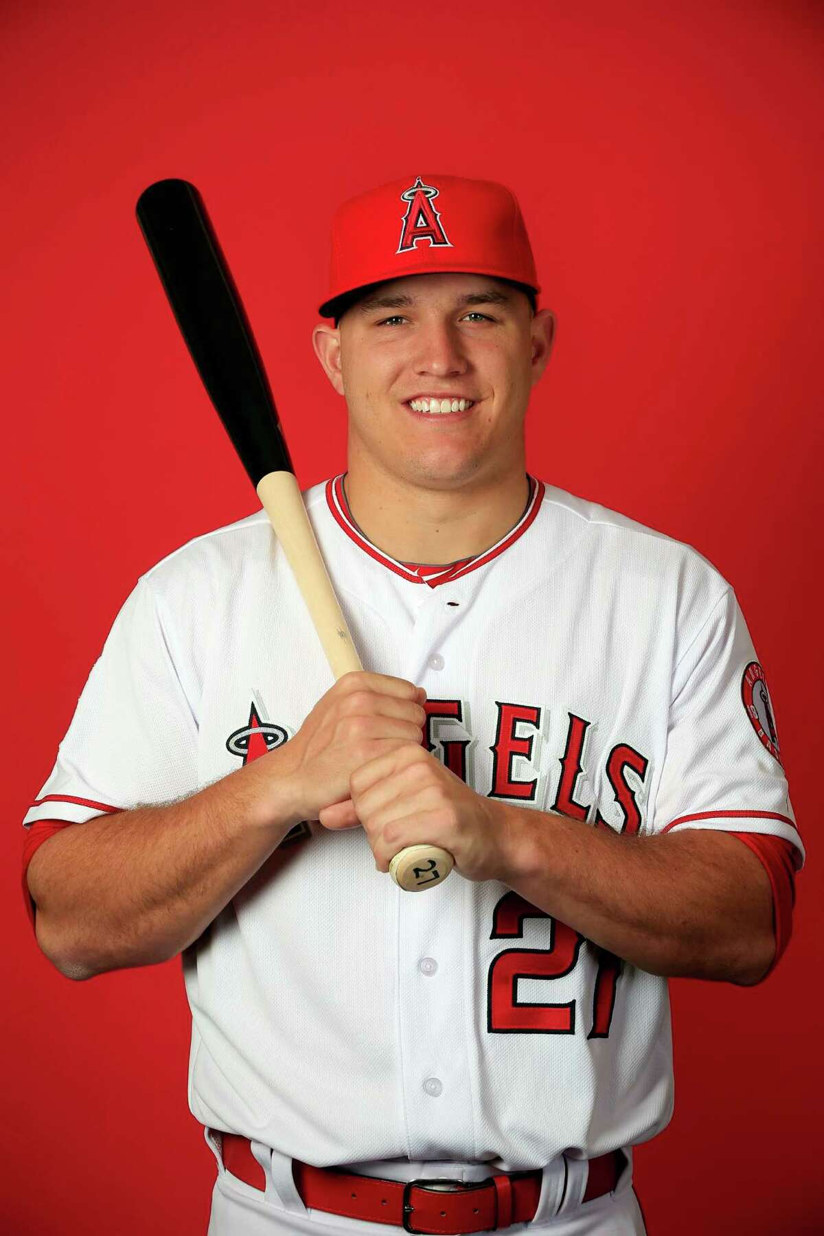 TEMPE, AZ - FEBRUARY 28: Mike Trout #27 poses during Los Angeles Angels of Anaheim Photo Day on February 28, 2015 in Tempe, Arizona. (Photo by Jamie Squire/Getty Images)