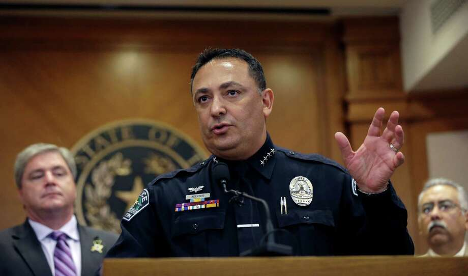 FILE - In this May 27, 2015 file photo, Austin Police Chief Art Acevedo speaks in Austin, Texas. Acevedo is moving to Houston to head the police force in the nation's fourth-largest city. Houston Mayor Sylvester Turner announced the hiring of Acevedo, who had headed Austin's police force for nearly a decade, at a news conference Thursday, Nov. 17, 2016. (AP Photo/Eric Gay File) Photo: Eric Gay, STF / Copyright 2016 The Associated Press. All rights reserved.