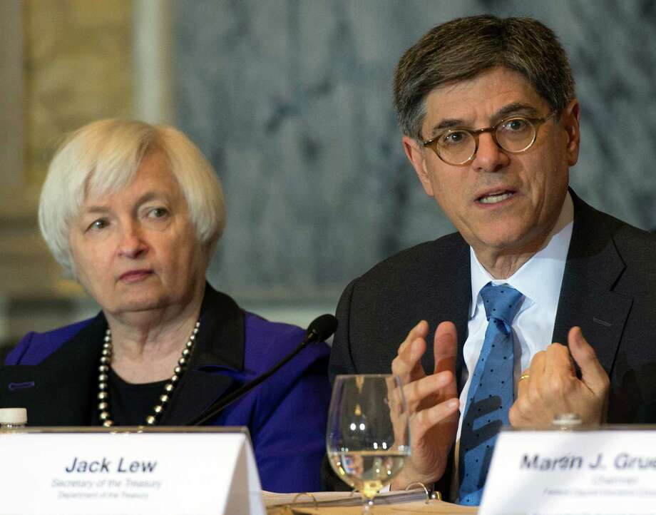 Secretary of the Treasury and Council Chairperson Jack Lew speaks during the Financial Stability Oversight Council along with Federal Reserve Chair Janet Yellen, at the Treasury Department in Washington, Wednesday, Nov. 16, 2016. (AP Photo/Molly Riley) ORG XMIT: DCMR112 Photo: Molly Riley / Copyright MOLLY RILEY