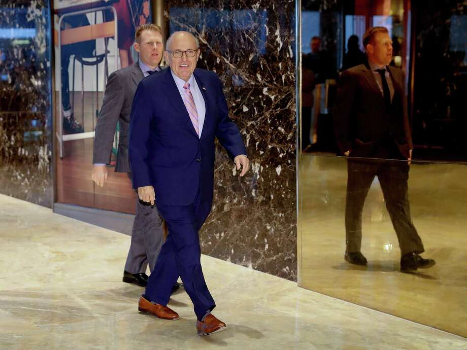 Former New York City Mayor Rudy Giuliani arrives at Trump Tower, Thursday, Nov. 17, 2016, in New York. (AP Photo/Carolyn Kaster) ORG XMIT: NYCK115 Photo: Carolyn Kaster / Copyright 2016 The Associated Press. All rights reserved.