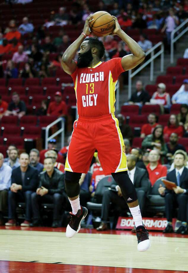 Houston Rockets guard James Harden (13) grabs a rebound against the Portland Trail Blazers in the first half of an NBA basketball game on Thursday, Nov. 17, 2016, in Houston. (AP Photo/Bob Levey) Photo: Bob Levey, Associated Press / AP