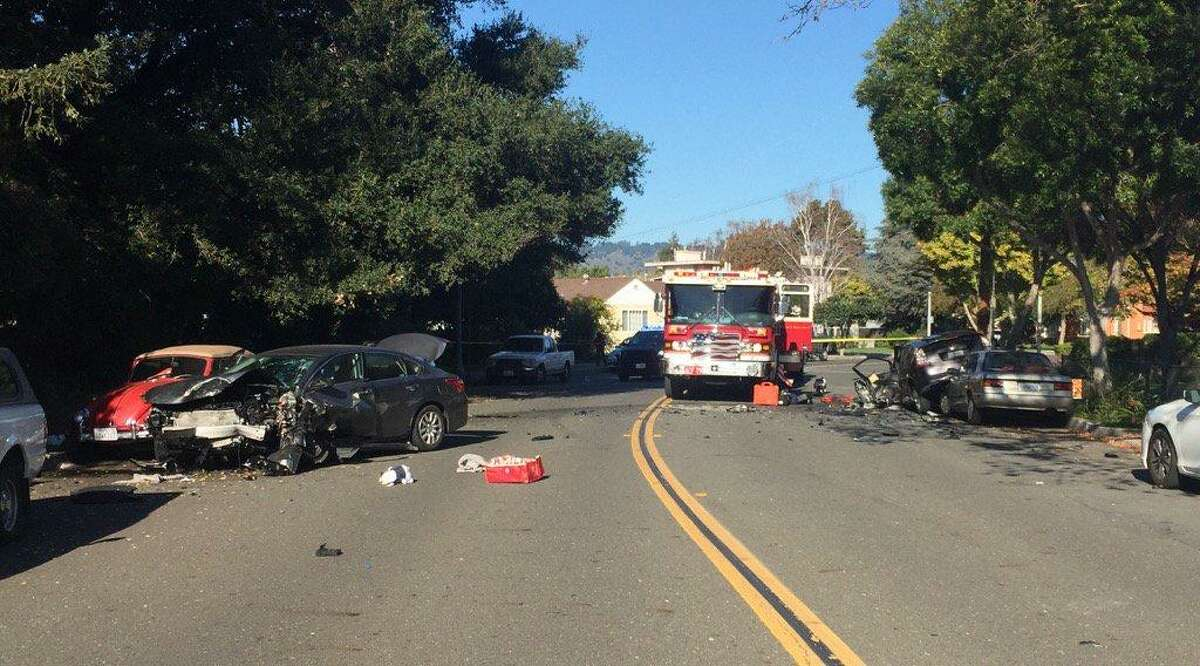 A crash in San Leandro following a gunfight between occupants of two cars seriously injured an innocent elderly couple Thursday, police said.