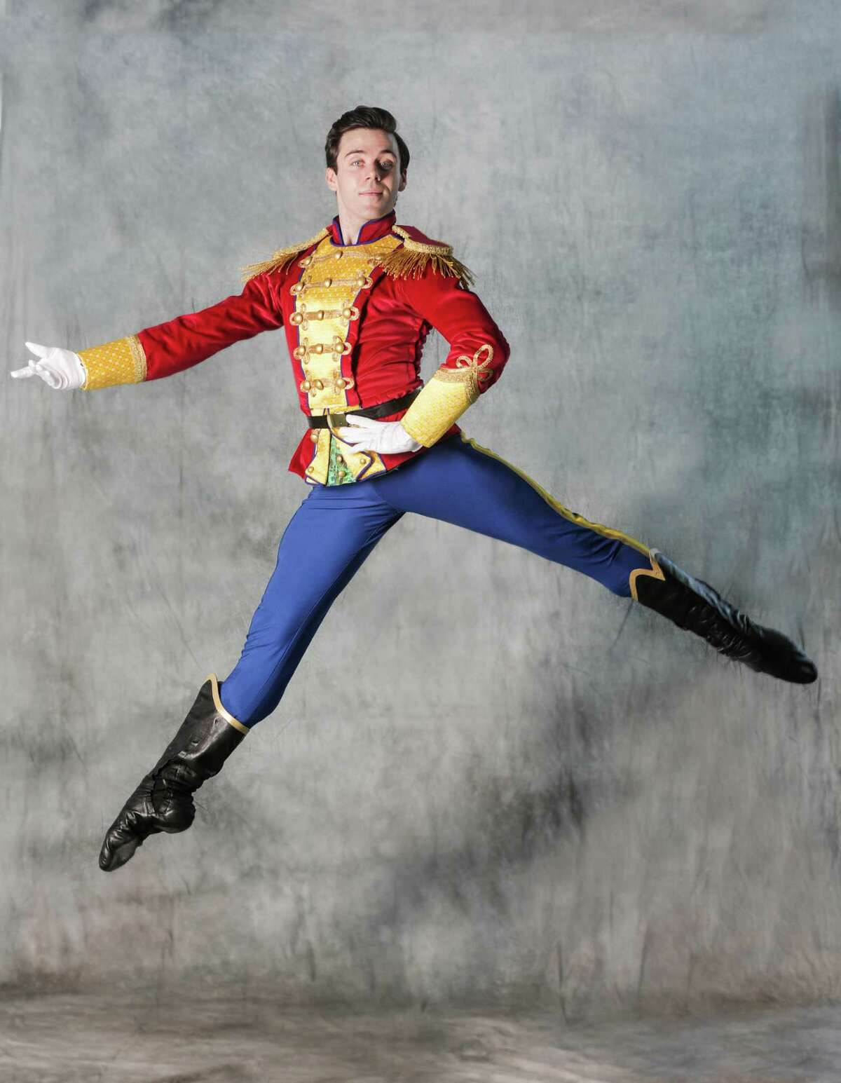 Houston Ballet principal Connor Walsh wears the Nutcracker costume for the company's 2016 production of the Nutcracker on Monday, Oct. 31, 2016, in Houston.