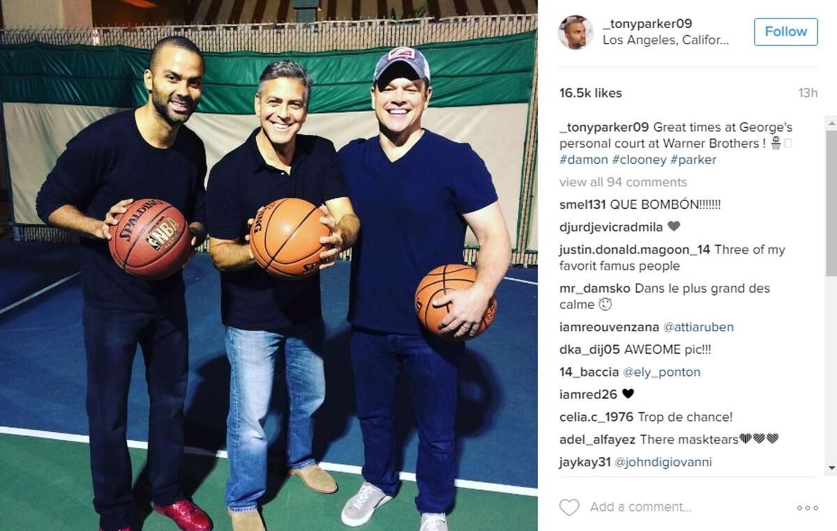 Tony Parker hung out with George Clooney and Matt Damon ahead of the Spurs' game against the Lakers on Nov. 18, 2016.