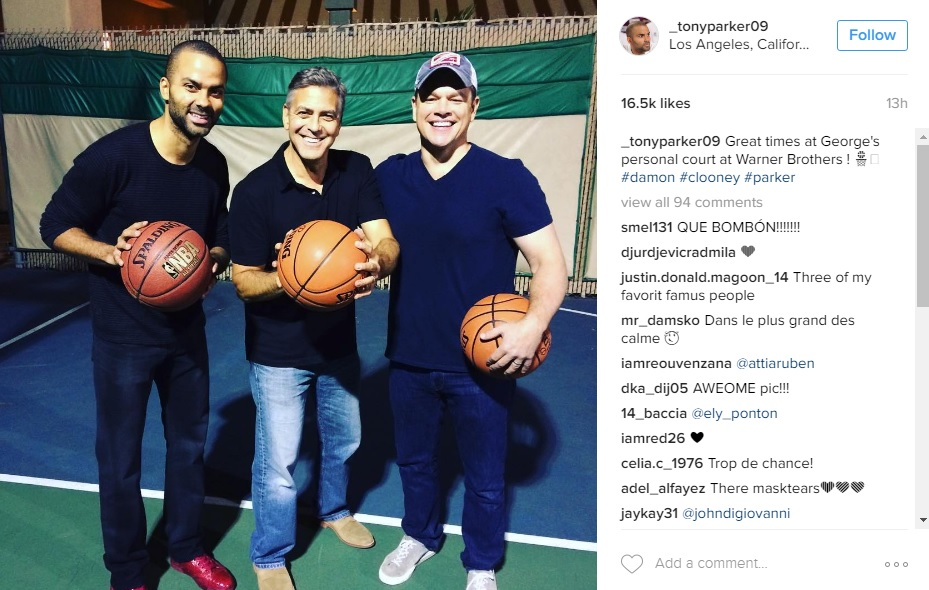 Spurs Tony Parker Hoops With George Clooney Matt Damon