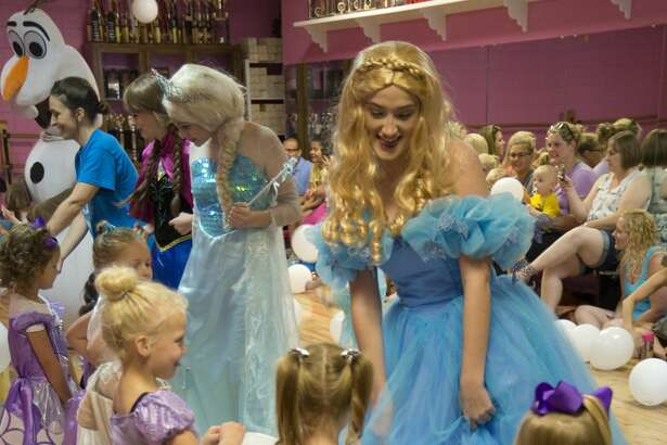 Girls dance with Frozen characters at the Fairy Tale Princess Dance Camp at Dee-Ann Studio of Dance.