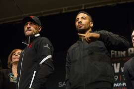 Sergey Kovalev, left, and Andre Ward pose for photos during a news conference in Las Vegas on Thursday, Nov. 17, 2016. Ward and Kovalev are scheduled for a boxing bout Saturday. (Chase Stevens/Las Vegas Review-Journal via AP)