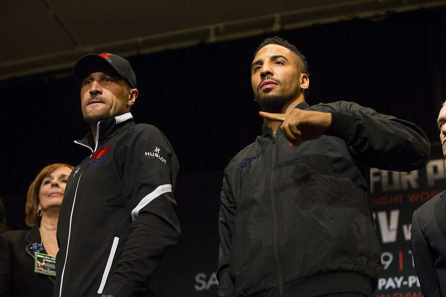 Sergey Kovalev, left, and Andre Ward pose for photos during a news conference in Las Vegas on Thursday, Nov. 17, 2016. Ward and Kovalev are scheduled for a boxing bout Saturday. (Chase Stevens/Las Vegas Review-Journal via AP) Photo: Chase Stevens, Associated Press