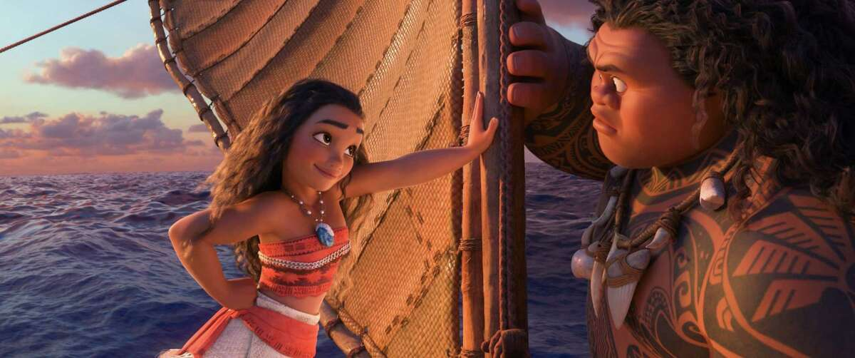 Moana (voiced by Auli'i Cravalho) and Maui (Dwayne Johnson) go on a mythical journey to save their island in