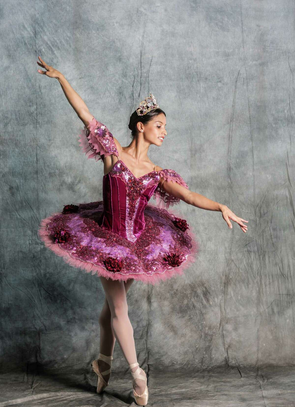 Houston Ballet principal Karina Gonzalez wearing the 2016 Sugar Plum Fairy costume for the company's production of the Nutcracker on Monday, Oct. 31, 2016, in Houston.