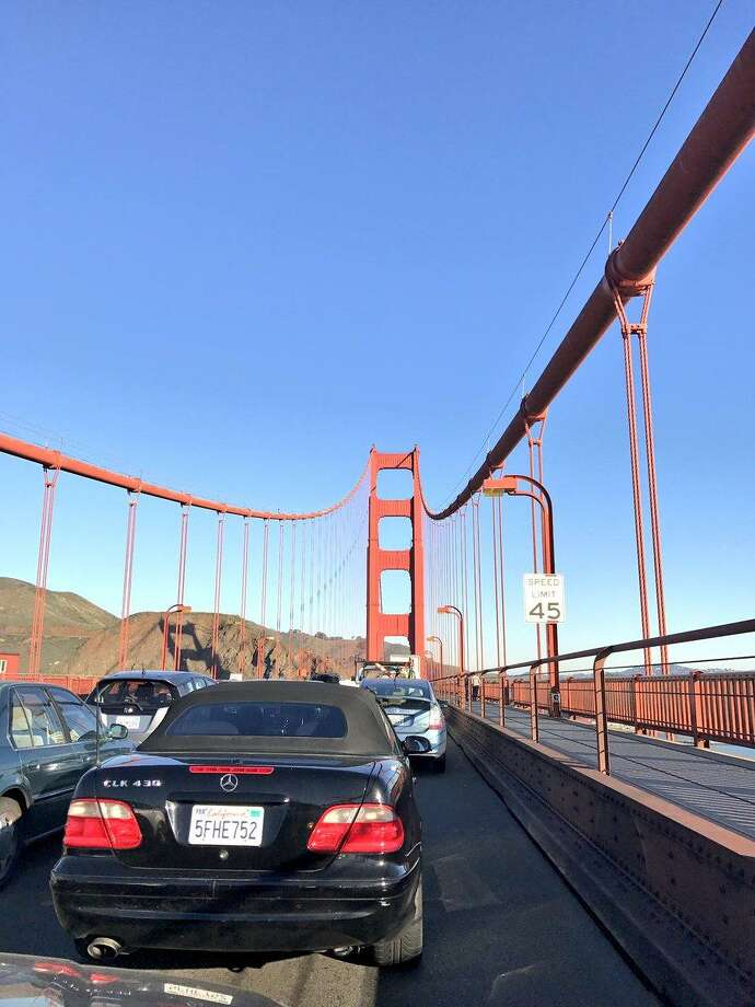 Traffic on the Golden Gate Bridge came to a standstill after a two vehicle accident left one person injured, officials said. Photo: Alex Meliones / Twitter / Alex Meliones / Twitter