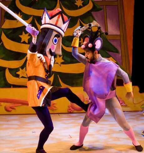 "Chad Dawson (as Nutcracker, left) and Juan De la Rosa (as Mouse King) in Mark Foehringer Dance Project's ""Nutcracker at Zeum."" Photo: Rob Kunkle"