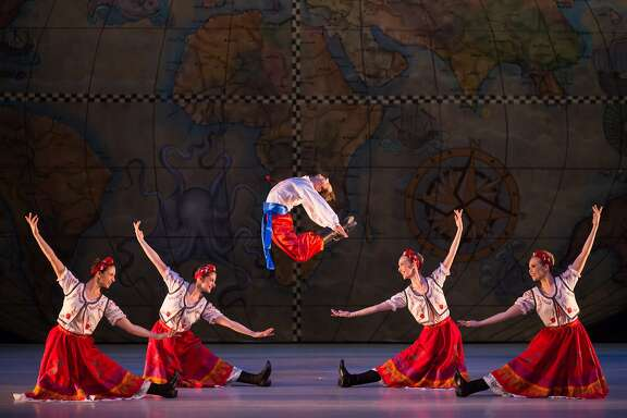 "Dancers Stefanie Maughan, Christina Schifano, Matthew Doolin, Bondy Owens Juarez, Samantha Bell perform the Russian dance from Menlowe Ballet's ""It's a Wonderful Nutcracker,"" running through Dec. 20 at Menlo-Atherton Performing Arts Center. Photo: Eric Raeber  CB"