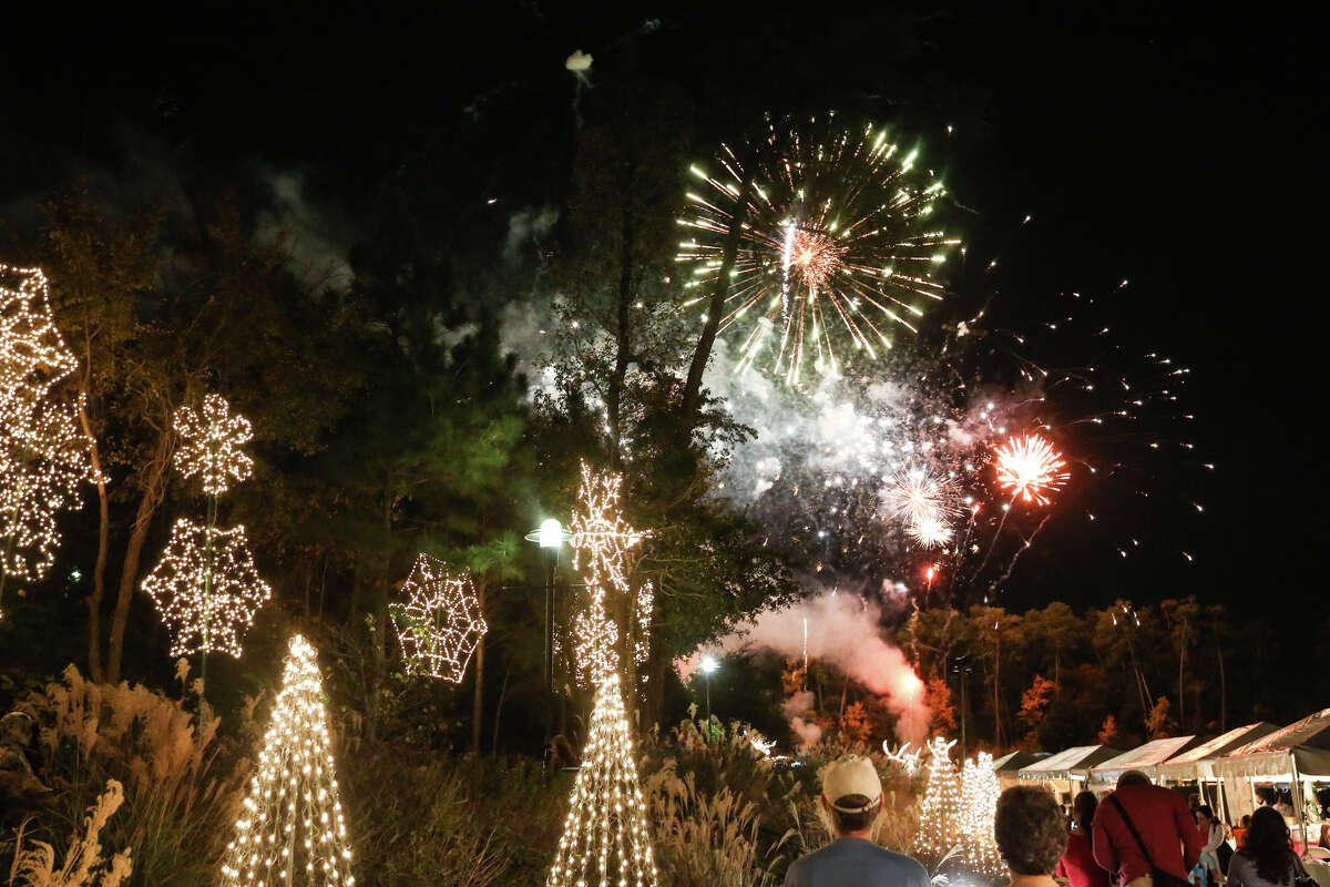 Fireworks explode over The Woodlands Waterway during the 32nd Annual Lighting of the Doves Festival and the International Winter On The Waterway event on Sunday, Nov. 23, 2014, at Town Green Park.